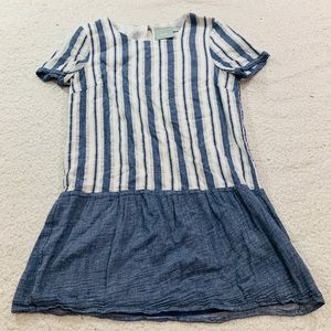 Maeve chambray stripe peplum mini dress